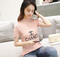 stickerei high-end-mode großhandel-2019 High-End Luxus Frauen Marke Strick T-Shirt Modedesigner China Stickerei Brief T-Shirt Hip Hop Frauen Casual Kurzarm