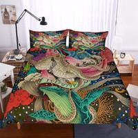 skull bedding al por mayor-Conjuntos de ropa de cama de diseño de patrón de pulpo gótico Conjunto de funda nórdica Juego de cama de calavera Ropa de cama de tamaño king Funda de edredón de cama F