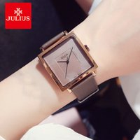 юлиус часовая леди оптовых-Julius  Simple Square Big Dial Leather Watch Woman Vintage Waterproof Quartz Dress Wristwatches Lady Montre Femme Gifts