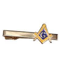 clip de corbata caballeros al por mayor-Masónico clip de corbata dorado Freemason pin AG Masonería tie tack caballeros simples accesorios hombres de negocios regalo