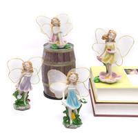 hadas de flores adornos al por mayor-Flor de los Ángeles Princesa Miniaturas Hadas Decoraciones de jardín Artesanía de resina Micro Paisaje Decoración Ornamento Bonsai Terrario Estatuilla