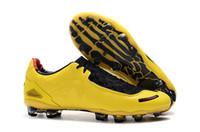 ingrosso girocollo giallo-2019 Nuovo arrivo Mens T 90 Laser I SE FG scarpe da calcio di alta qualità S giallo rosso atletico moda scarpe da calcio tacchetti di design all'aperto