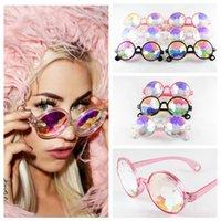 erkek çocuklar için serin bardaklar toptan satış-Çocuklar Kaleidoscope Güneş Retro Geometrik Gökkuşağı Mercek Sunglass Moda Şenlikli Parti Gözlük Erkek kız favori gözlük FFA3600 soğutmak