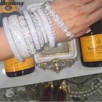 brazaletes de oro blanco para las mujeres al por mayor-Choucong 27 estilos hechos a mano brazalete 5a Cubic Zirconia oro blanco lleno partido pulseras brazaletes para mujeres hombres Accessaries boda J190721