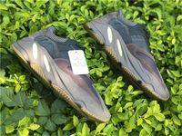 zapatos morados oscuros al por mayor-Calidad superior 700 Malva Wave Runner Purple 3M Zapatillas de deporte auténticas Kanye West EE9614 Glow In Dark 700 V2 Static Athletic calzado deportivo tamaño 5-12