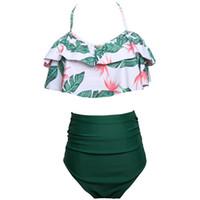 bikini-taille großhandel-Neue Frauen Badeanzüge Bikini Sexy Hohe Taille Spaltung Multicolors Sommerzeit Strand Stil Europäischen Und Amerikanischen Wind Badeanzüge