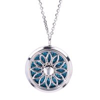 Wholesale magnetic locket pendant resale online - Magnetic Hollow Floating Sunflower Locket Pendant Jewelry Aroma Perfume Fragrance Essential Oil Diffuser Locket Necklace With Pads