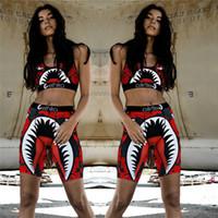boxer für frauen großhandel-Frauen Ethika Designer Badeanzug Ernte Weste BHs + Badeshorts Badehose Boxer 2-teiliges Set Patchwork Beachwear Shark Camo Badebekleidung Bikini C61711