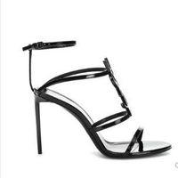 bronze brautkleider großhandel-Top Qualität 2019 Luxus Designer Stil Lackleder Thrill Heels Frauen einzigartige Buchstaben Sandalen Kleid Hochzeit Schuhe Sexy Schuhe 35-41