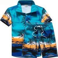 Wholesale mens suit costumes online - Mens Designer Suits Coconut Palm Printed Beach POLO Shirts Short Pant Suits Stage Costumes Clothes