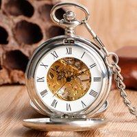 reloj de bolsillo vintage tallado al por mayor-Tallado en plata Números romanos Reloj de bolsillo mecánico Reloj vintage colgante Regalo Hombres Mujeres con doble cazador Bolsillo Orologio Da Tasca
