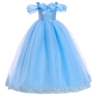 Wholesale cap fur ball top online - Cheap Flower Girls Dresses Tulle Lace Top Spaghetti Formal Kids Wear For Party Toddler Girls Pageant Gowns