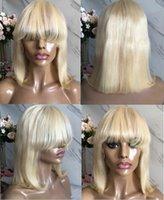 cabelo cortado chinês cabelo venda por atacado-Curto Bob Cut peruca dianteira do laço com a Bang 613 Loiro Cor chinês Virgem Cabelo Humano peruca cheia do laço para mulher negra frete grátis