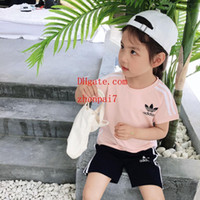 Wholesale spring boy pictures for sale - Group buy Boys girls Two piece set print outfits stripe lovely pictures top Letter printing shorts summer high quality kids Clothing Sets sup er9