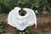 lenços de seda rosa verde venda por atacado-100% Real Silk Dança Do Ventre Veils Scarf Mão Xale Sólido Purpe Cor Dancer Costume Acessório Branco Verde Rosa Azul Frete Grátis