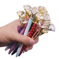 cam kalem hediye toptan satış-2019 Üst Moda Yaratıcı Büyük Elmas Ile Kristal Cam Kawaii Tükenmez Kalem lüks kalem Okul Ofis Malzemeleri Cadılar Bayramı Noel hediyeler