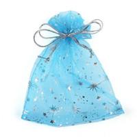 yıldızlar için hediye çantaları toptan satış-100 Adet / torba Yüksek Kalite Moda Yıldız Organze Çanta 9x12 cm Güzel Takı Ambalaj Çanta Düğün Noel Hediyesi Torbalar çanta