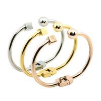 indischen goldschmuck armband großhandel-Großhandel-New Indian Fashion Gold Plated Square Round Edelstahl Open Bracelet Armreif Manschette für Frauen Einfache Trend Female Jewelry