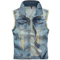 más el tamaño de chaquetas de jean azul al por mayor-Otoño-Big Size Ripped Vintage Cowboy Chaleco Washed Male Jean Vest Chaqueta de mezclilla sin mangas para hombre talla grande 5XL 6XL Azul claro