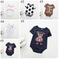 Wholesale baby baseball sleeves for sale - Group buy Baby Ins Romper Summer Onesies Infant Baseball Football Print Jumpsuits Short Sleeve Bodysuit Fashion INS Romper Baby Kids Clothing EZYQ249
