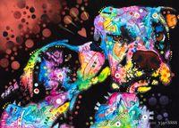 yağlı boya sanatı aşk toptan satış-sanat, yağlıboya resim, Manzara resim, Çerçeve resim, (köpek yavrusu-aşk) Ev ve Ofis Dekorasyonu için Çerçevesiz Modern Tuval Wall Art.