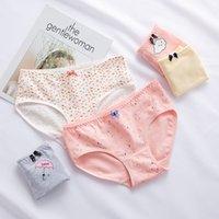 Wholesale students underwear resale online - Women Ladies Cotton Panties Underwear Breathable Brief for Women Girls Print Floral Sweet Student Comfortable Lovely Briefs