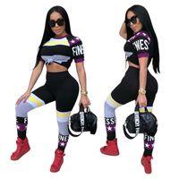 plus größe leggings farben großhandel-Frauen Yoga Set Gym Kleidung Kurzarm Hose Anzug Laufen Workout Leggings Sport Plus Größe Stern Farben Mischen 38xyf1