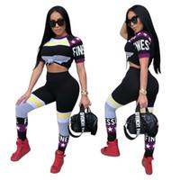 colores de traje mixto al por mayor-Mujeres Yoga Set Ropa de gimnasia Pantalones de manga corta Traje Correr Entrenamiento Leggings Deporte Más el tamaño de Star Colors Mix 38xyf1