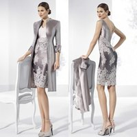Wholesale silver mother bride dresses jackets resale online - 2020 Silver Sheath Lace Mother of the Bride Dresses V Neck With Long Sleeves Jackets Wedding Guest Dress Knee Length Taffeta Formal Gowns