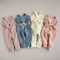 Wholesale pink baby romper resale online - 4 Colors New Born Baby Clothes Backless Striped Ruffle Romper Overalls Jumpsuit Clothes Baby Girl Girl Romper kids suspender jumpsuit M931