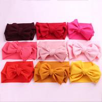 diadema elástica ajustable al por mayor-20 unids / lote Big Bows Head Wraps DIY Girls Knitted Elastic Knot Bows Headbands Accesorios para el cabello con turbante ajustable para bebés