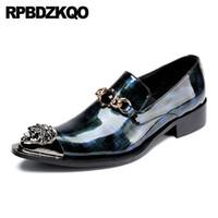 zapatos de los hombres de la marina de patente al por mayor-marca 11 boda puntiagudo elegante italiano azul marino azul formal Italia charol 47 hombres zapatos de vestir con puntas de metal de gran tamaño