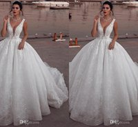 Wholesale plus size informal dresses resale online - Glamorous Sleeveless V Neck Middle East Ball Gown Puffy Wedding Dresses Sleeveless Lace Bridal Gowns Bead Informal Party Gowns Custom Made