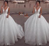 perles moyen orient achat en gros de-Glamour sans manches col en V au Moyen-Orient robe de bal robe de mariée gonflée robes sans manches en dentelle robes de mariée perles informelles robes de soirée faites sur mesure