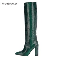 Wholesale woman shoes bootie for sale - Group buy VIISENANTIN Women Party Shoes Knee high Block Heel Pointed Toe Bootie Crocodile Pattern Female Fashion New Bota Plus Size