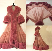 Luxury Fur Trim Womens Sleepwear Nightgown Party Bathrobes Pyjams Robes Luxury Bride Sleepwear Bath Robes Women Pajama
