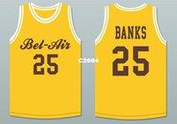 ingrosso aria di banca-Uomini # 25 Carlton Banks 25 Bel-Air Academy Deluxe giallo BLUE College taglia S-4XL o personalizzato qualsiasi nome o numero
