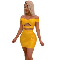 Wholesale sexy sets leather for sale - Group buy PU Leather Sexy Two Piece Set Women Off Shoulder Piece Crop Top and Bodycon Skirt Set Party Summer Matching Sets Club Outfits T200612