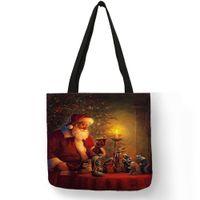 ec0677f7d Impresión única Bolsos de las mujeres Feliz Navidad Regalos de Santa Claus Bolsas  de asas Lino ecológico Bolsas de viaje de compras reutilizables