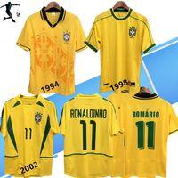 Wholesale blue ronaldo for sale - Group buy 1994 Brazil home soccer jerseys Brasil retro classic shirts Carlos Romario Ronaldo Ronaldinho R Carlos Jersey camisa de futebol