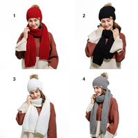 864c98b593a2b Two-piece Ladies Wild Wool Scarf Hat Set Solid Color Warm Thick Windproof  Scarf Hat Autumn Winter Outdoor Soft Warm