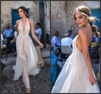 Wholesale halter open back sexy wedding dress for sale - Group buy 2019 New Lace Wedding Dresses Backless Halter V Neck Illusion Bodice Sweep Train Sexy Open Back Bridal Gowns