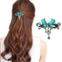 kelebek klibi saç yayları toptan satış-Zarif Kadın Turkuaz Kelebek Çiçek Tokalar Vintage Saç Tokalarım Klip Kristal Kelebek Yay Saç Klip Saç Aksesuarları