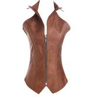 ingrosso indietro indossare il corsetto in pelle-Corsetto sexy in pelle sintetica Sexy cerniera marrone Steampunk Corsetto Overbust Lace Up Back Vest Corselet Espartilhos per le donne