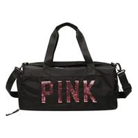 женские женские спортивные сумки оптовых-2019 Дамы Black Travel Bag Pink Блестки сумки на ремне сумки женщин Ladies Weekend Спорт Портативный вещевой Водонепроницаемый Bolsos