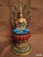 pintando kwan yin al por mayor-13''Bronze dorar Pintura tallada de loto budista Guanyin Kwan Yin Mahasthamaprapta