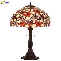 arte da folha de bordo venda por atacado-FUMAT Vidro Art Lamp Sala de estar Quarto Estudo Lâmpada de mesa de Cabeceira Maple Leaf Quente Vitral Decorativo Luzes Da Tabela