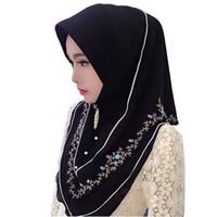 hijab écharpe broderie achat en gros de-Fblusclurs Musulman Hijab en mousseline de soie broderie Malaisie instantanée commode Muslima châle usure tête foulard turban bandeau