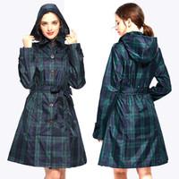 cinturón de abrigos para mujer al por mayor-Womens Stylish Long Green Grid Rain Poncho impermeable chaqueta impermeable con capucha y cinturón Y190313