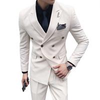 tuxedo anzug schwarz farbe großhandel-Zweireiher Herrenanzüge Set Slim Fit Business Kostüme Homme reine Farbe Formal White Male Prom Anzüge Gentleman Black Tuxedo